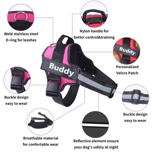 Personalized Dog Harness NO PULL Reflective Breathable Pet Harness For Small & Large Dogs